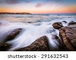 beautiful sunset and waves at... | Shutterstock . vector #291632543