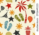 seamless pattern with sun  palm ... | Shutterstock .eps vector #291649223