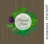 provencal herbs round label on... | Shutterstock .eps vector #291676247