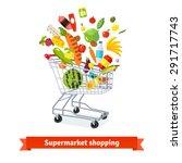 full shopping grocery cart... | Shutterstock .eps vector #291717743