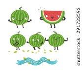cute watermelon cartoon... | Shutterstock .eps vector #291723593