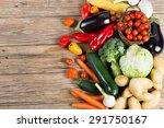 Vegetables On Wood Background...