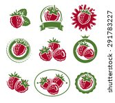 raspberry labels and elements... | Shutterstock .eps vector #291783227