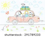 happy family   mom  dad and two ... | Shutterstock .eps vector #291789233