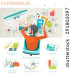 concept of overworked man. man... | Shutterstock .eps vector #291802097