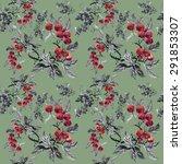 watercolor garden rowan plant...   Shutterstock . vector #291853307