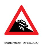 steep hill descent warning... | Shutterstock .eps vector #291860027