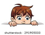 cartoon smiling boy peeps out... | Shutterstock .eps vector #291905033