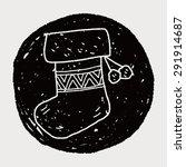 christmas socks doodle drawing | Shutterstock . vector #291914687