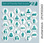 set of family flat icons for... | Shutterstock .eps vector #291933263