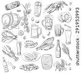 beer. hand drawing set of... | Shutterstock .eps vector #291953993