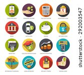 loan flat icons set with check... | Shutterstock .eps vector #292003547