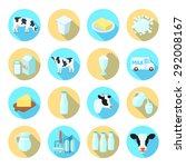 milk dairy production farm flat ... | Shutterstock .eps vector #292008167