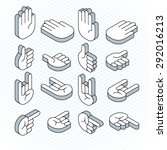 vector isometric hand signs   Shutterstock .eps vector #292016213