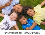 four beautiful children are... | Shutterstock . vector #292019387