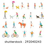 Stock vector people on the street neighbors flat icons 292040243