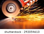 worker cutting metal with... | Shutterstock . vector #292054613