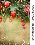 christmas retro card border... | Shutterstock . vector #292056407