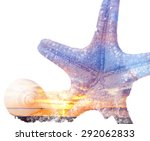 Starfish  Shell And Sunset In...