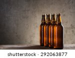 ice cold beer bottles in a row... | Shutterstock . vector #292063877