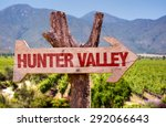 hunter valley wooden sign with... | Shutterstock . vector #292066643