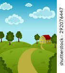 landscape with house and road | Shutterstock . vector #292076447