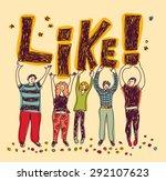 Group Happy Casual People Like...