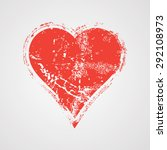 grunge vector textured heart... | Shutterstock .eps vector #292108973