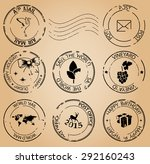 grungy postage stamps   vector | Shutterstock .eps vector #292160243