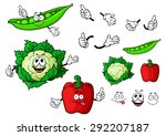 funny fresh cartoon cauliflower ... | Shutterstock .eps vector #292207187