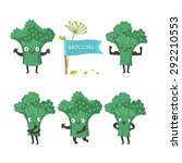 cute happy broccoli set of... | Shutterstock .eps vector #292210553