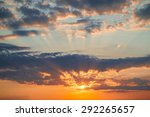 dawn with clouds  light rays... | Shutterstock . vector #292265657