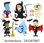 halloween flat cartoon... | Shutterstock .eps vector #292287887