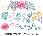 Stock vector vector floral set colorful purple floral collection with leaves and flowers drawing watercolor 292317653