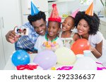 happy family celebrating a... | Shutterstock . vector #292336637