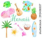 watercolor hawaii set    Shutterstock .eps vector #292438337