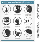 vector icon set. flu symptoms... | Shutterstock .eps vector #292459193