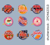 set of stickers of food vector... | Shutterstock .eps vector #292462313