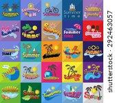 summer flat icons set  vector... | Shutterstock .eps vector #292463057