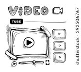 doodle wireframe of video... | Shutterstock .eps vector #292506767