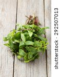fresh mint on grey wooden... | Shutterstock . vector #292507013