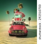 car and happy woman traveling... | Shutterstock . vector #292510703