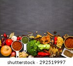group of indian spices and... | Shutterstock . vector #292519997