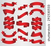 red ribbons set. vector... | Shutterstock .eps vector #292530533