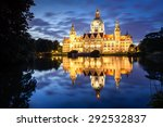 Stock photo hannover city hall reflecting in the water 292532837