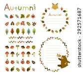 autumn frame and decorations | Shutterstock .eps vector #292571687