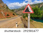 road sign. falling rocks.... | Shutterstock . vector #292581677