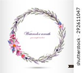 watercolor wreath with flowers... | Shutterstock .eps vector #292611047