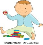 boy plays at construction set | Shutterstock .eps vector #292630553