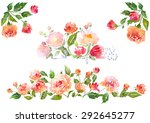 floral clip art with watercolor ... | Shutterstock . vector #292645277